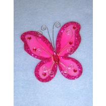 """Organza Butterflies - 3"""" Fuchsia Pkg_12"""
