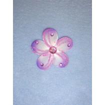 """Organza Flowers - 2 1_4"""" Purple Pkg_12"""