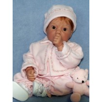 "Pink Fleece 3pc Set w_Rosebud Trim - 19""20"" Doll"