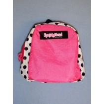 |Pink w_Black & White Polka Dots Backpack