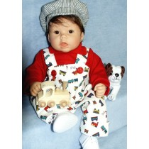 "Print Corduroy Romper & Red Shirt - 19-22"" Doll"