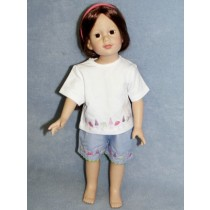 "Purple Shorts & White T-Shirt Set for 18"" doll"