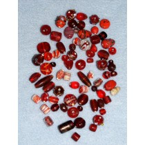 Red Handblown Glass Bead Mix - 100 gr