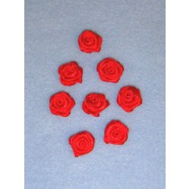 "Ribbon Roses - 5_8"" Red - 8 pcs"
