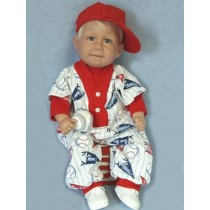 "Romper - Baseball - 24"" Red_Print"