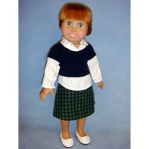 "|Shirt & Plaid Skirt for 18"" Doll"