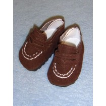 "Shoe - 2 3_4"" Brown Suede Fancy Loafer"