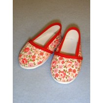 "Shoe - Cloth Slip-On - 3 1_8"" Red & Pink Floral"