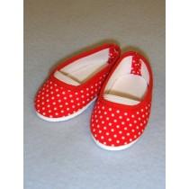 "Shoe - Cloth Slip-On - 3 1_8"" Red & White Polka Dot"