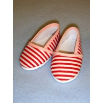 "Shoe - Cloth Slip-On - 3 1_8"" Red & White Striped"