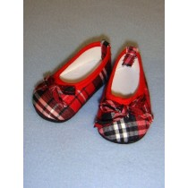 "Shoe - Cloth Slip-On - 3"" Red_Black_White Plaid"