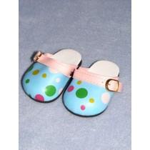 "Shoe - Comfy Clogs - 3"" Blue Polka Dot"