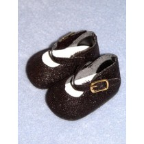 "Shoe - Elegant Ankle Strap - 2 7_8"" Black Glitter"