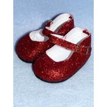 "Shoe - Elegant Ankle Strap - 2 7_8"" Red Glitter"