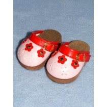 "Shoe - Flower Petal Clogs - 3"" Pink & Red"