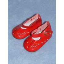 "Shoe - Patent Cutwork - 3"" Red"