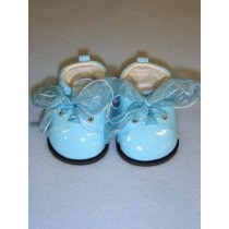 "Shoe - Patent w_Ribbon Laces - 3"" Light Blue"