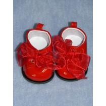"|Shoe - Patent w_Ribbon Laces - 3"" Red"