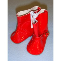 "Shoe - Rain Boot - 3"" Red w_zipper"