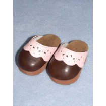 "Shoe - Scallop Clogs - 3"" Brown & Pink"
