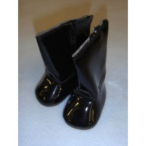 "Shoe - Vinyl Boot - 3"" Black w_zipper"
