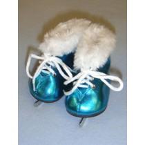 """Skates - Ice - 3"""" Metallic Turquoise w_Fur"""