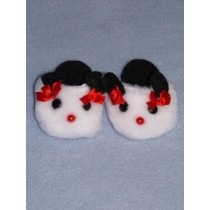"Slipper - Panda -3"" White w_Black & Red"