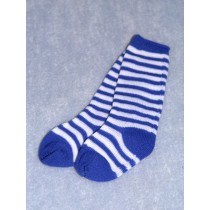 "Sock - Striped Knee 18-20"" Blu_Wht4"