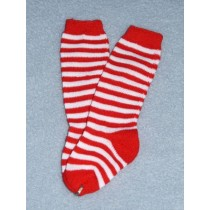 "Sock - Striped Knee 18-20"" Red_Wht4"