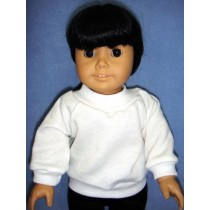 "Sweatshirt - White - for 18"" Dolls"