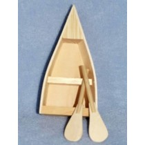 "Wood Boat w_Oars - 5 1_4"" long"