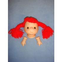 """Yarn Head - 4"""" w_Red Braids"""