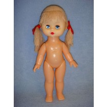 "|10"" Vinyl Doll w_Beige Yarn Hair"