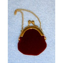 "|Doll Purse - 1 1_2"" Burgundy Plush"