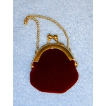 "|Doll Purse - 1"" Burgundy Plush"