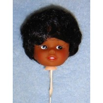 "|2"" Dark Doll Head on Pick - Black Hair"
