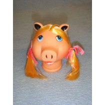 "|3 1_2"" Pig Head w_Blond Hair"