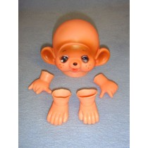 "|3 3_4"" Bashful Buddy Monkey Head, Hand & Feet"