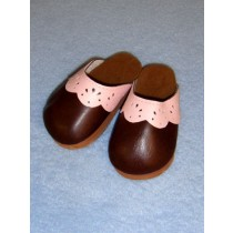 "|3 7_8"" Brown_Pink Scallop Clogs"