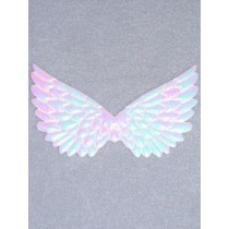 "|4 3_4"" White Irrdescent Embossed Angel Wing - Pkg_2"