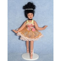 "|5 1_2"" Porcelain Hispanic Ballernia Doll w_Black Hair"