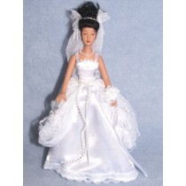 "|7 1_2"" Hispanic Porcelain Bride Doll w_Black Hair"