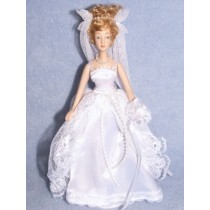 "|7 1_2"" Porcelain Bride Doll w_Blonde Hair"