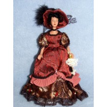 "|7 1_2"" Porcelain Hispanic Victorian Doll w_Black Hair"
