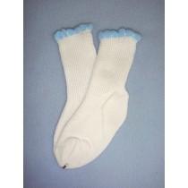 "|Anklet - Cotton - 26-32"" White w_Blue Trim (10)"