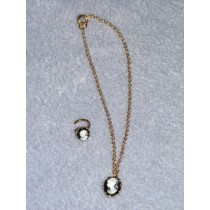 |Black Cameo Ring & Necklace Set