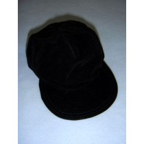 "|Black Suede Baseball Cap for 18"" Dolls"