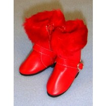 "|Boot - 3"" Red w_ Fur"
