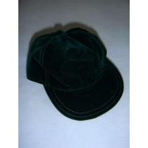 "|Dark Green Suede Baseball Cap for 18"" Dolls"