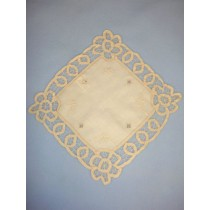 "|Doily - Square Battenburg -10"" Ecru"